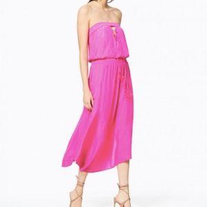 Ramy Brook silk hot pink strapless maxi dress